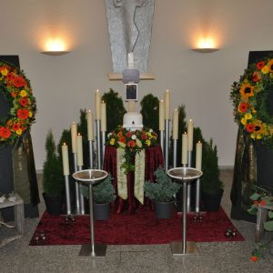 Aufbahrung mit Urne in der Friedhofshalle Wolfurt